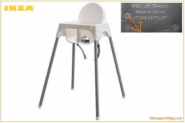 Rappel de ceintures de s curit de chaises hautes antilop for Securite fenetre bebe ikea