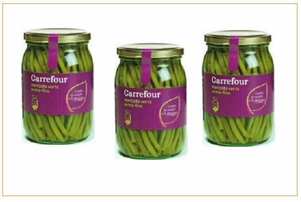 rappel de bocaux de haricots verts extra fins cueillis et rang s la main de marque carrefour. Black Bedroom Furniture Sets. Home Design Ideas