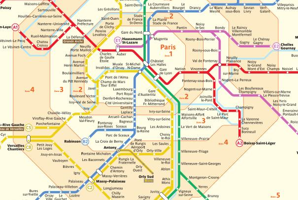 Lignes du réseau RER en Ile-de-France