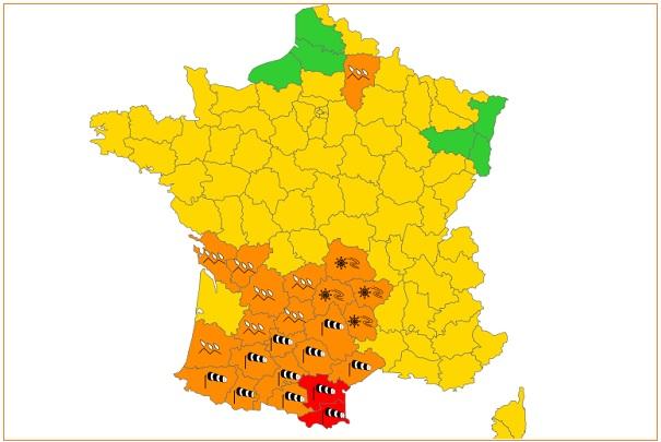 Signification des couleurs et des pictogrammes des cartes de vigilance météorologique