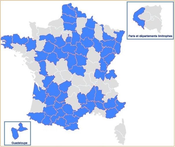 Départements ayant relevé les droits de mutation au 1er mars 2014