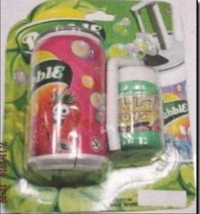 Rappel de canettes bulles de savon de marque BUBBLE