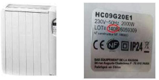 Rappel de radiateurs à inertie céramique de marque BRICELEC
